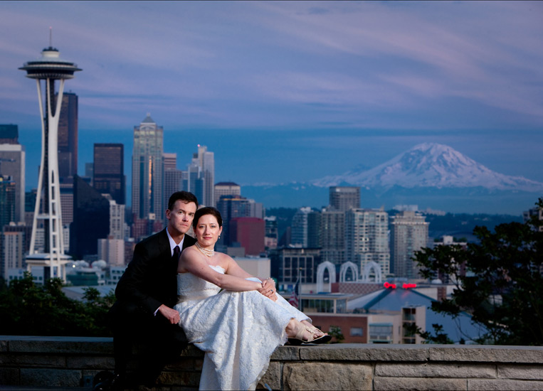 Bride and Groom at Kerry Park overlooking Seattle